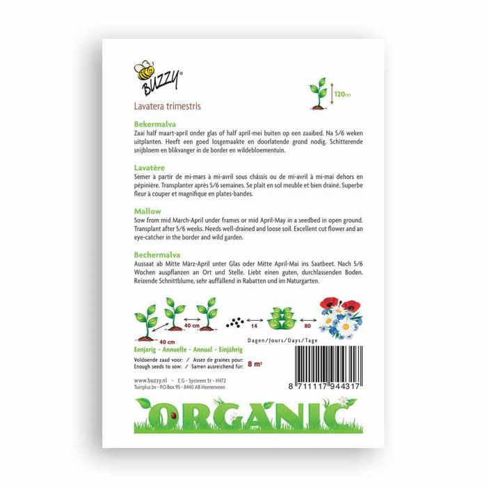Buzzy® Organic Lavatera trimestris rood (BIO)