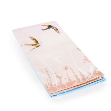 Roy Kirkham theedoek met zwaluwen (rose/blauw)